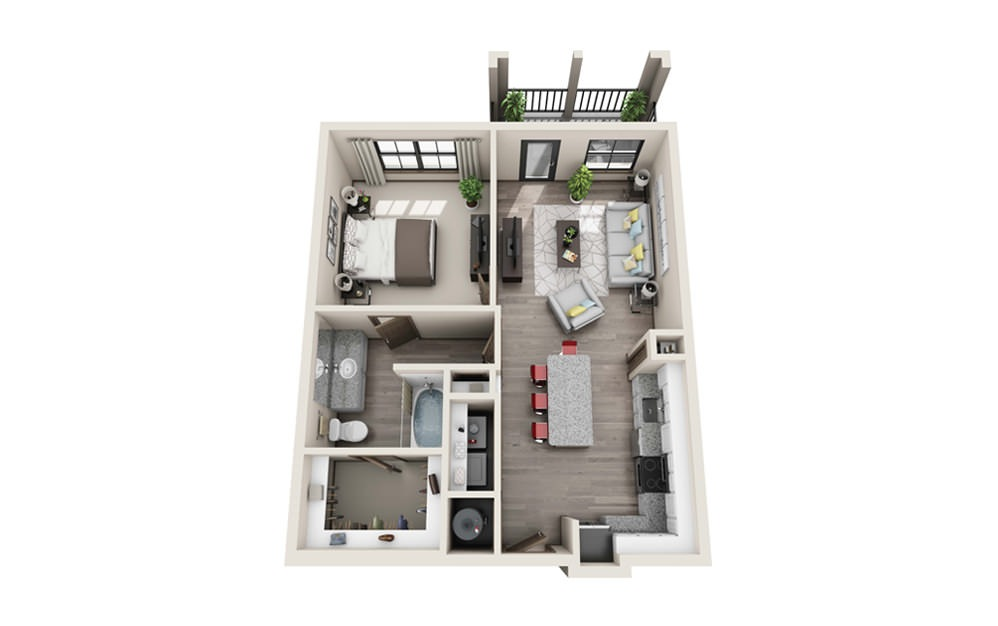 A1 - 1 bedroom floorplan layout with 1 bath and 752 to 836 square feet.