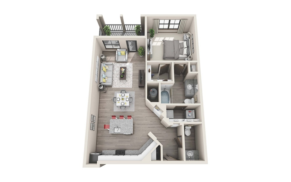 A2 - 1 bedroom floorplan layout with 1 bath and 816 to 832 square feet.