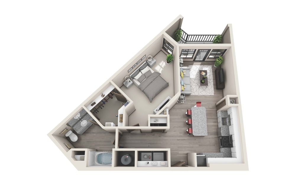 A3 - 1 bedroom floorplan layout with 1 bath and 826 square feet.