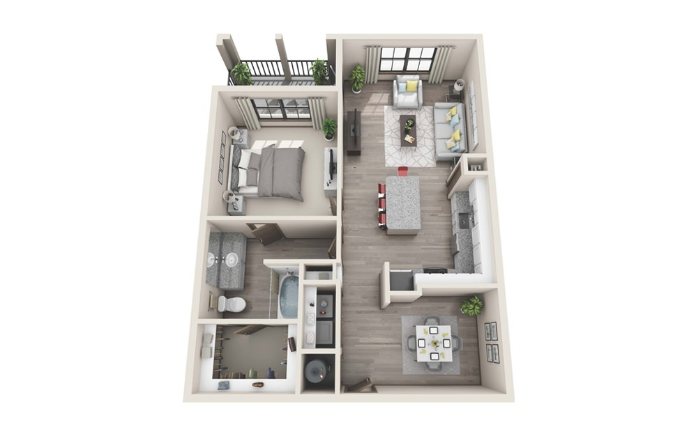 A4 - 1 bedroom floorplan layout with 1 bath and 905 square feet.