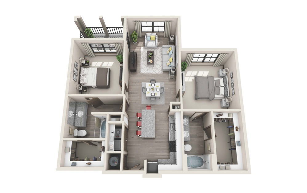 B2 - 2 bedroom floorplan layout with 2 baths and 1160 to 1171 square feet.