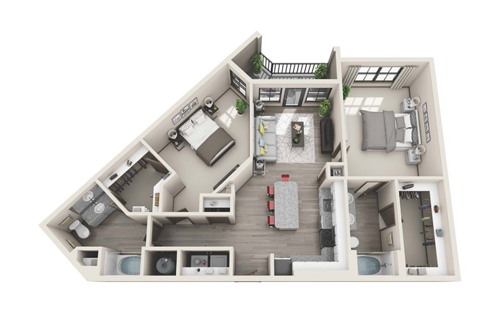 B3 - 2 bedroom floorplan layout with 2 baths and 1201 to 1206 square feet.