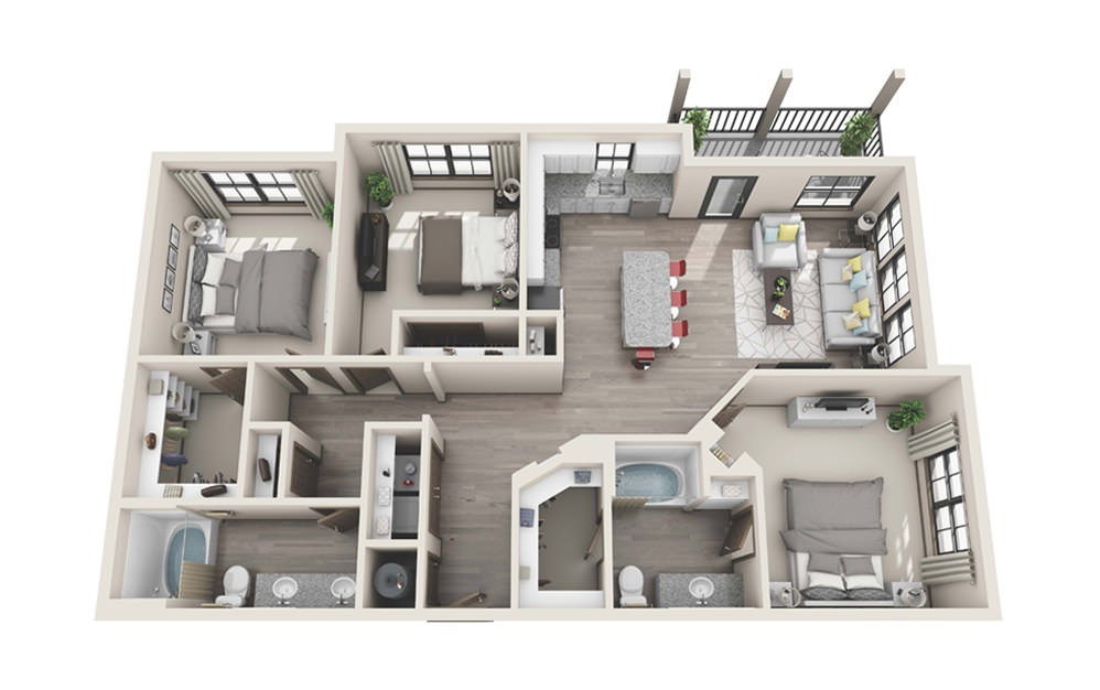 C1 - 3 bedroom floorplan layout with 2 baths and 1378 square feet.