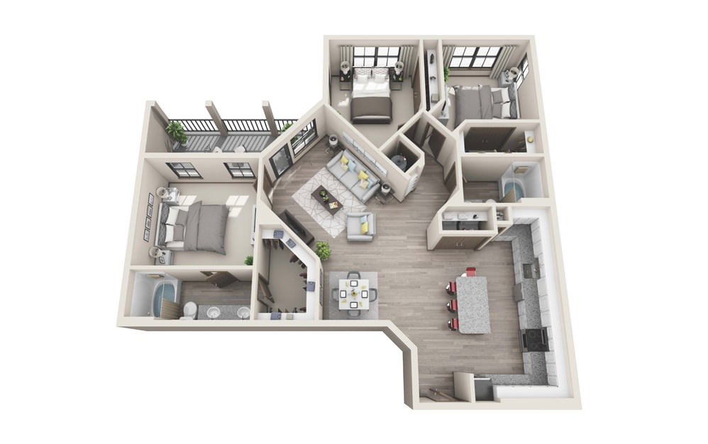 C2 - 3 bedroom floorplan layout with 2 baths and 1485 square feet.